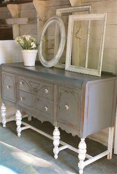 The Modern Cottage Company.great buffet with dipped legs. Distressed Furniture, Repurposed Furniture, Vintage Furniture, Painted Furniture, Refinished Furniture, Furniture Projects, Furniture Makeover, Diy Furniture, Bedroom Furniture