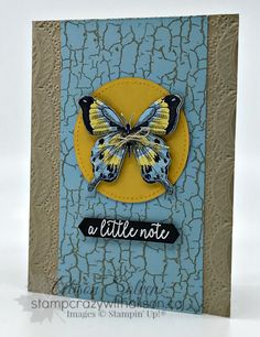 Just in Case - Botanical Butterfly Designer Series Paper Crackle Painting, Bee Cards, Paint Cards, Hand Stamped Cards, Stamping Up, Rubber Stamping, Card Patterns, Butterfly Cards, Card Sketches