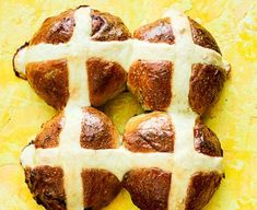 Blueberry & lemon hot cross buns These citrus hot cross buns make a clever twist on an Easter classic. Try them with a spoonful of lemon curd for a delicious, decadent breakfast Cross Buns Recipe, Bun Recipe, Vegan Hot Cross Buns, Dairy Free Spread, Bbc Good Food Recipes, Food Shows, Easter Treats, Blueberry, Baking