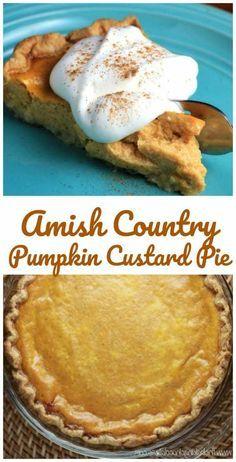 Amish Country Pumpkin Custard Pie Sugar Cream Pie Recipe produces a creamy egg-free custard filling. Pumpkin Custard Pie Recipe, Sugar Cream Pie Recipe, Cream Pie Recipes, Pumpkin Pie Recipes, Pumpkin Cream Pie, Custard Pies, Pumkin Pie, Amish Pie Crust Recipe, Fall Recipes