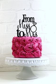 From Miss to Mrs Wedding Cake Topper or Sign with Diamond Ring
