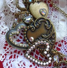 Glassworks Studio Heart Charms Brass Victorian Style