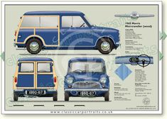 Morris Mini Traveller (Wood) 1960-67 classic car portrait print