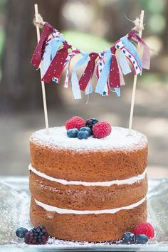 Red white and blue naked cake.