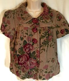 Ivy Jane Anthropologie Victorian Large Jacket Floral Corduroy Steampunk L  | eBay