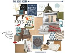 the boys' room {design board Like the ceiling light, red floor lamp, army blankets, green locker, wooden shelf Boys Room Design, Family Room Design, Boys Room Colors, Red Floor Lamp, Jones Design Company, The Design Files, Kid Spaces, My New Room, Interiores Design