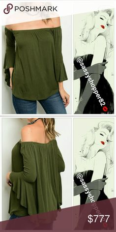 "💋JUST ARRIVED💋Olive green Off shoulder top BRAND NEW item  Sassy ribbed Olive green top featuring sexy off shoulder style and flared bell sleeves! Pair with jeans and heels, or with denim shorts and thigh high boots or leggings and bootie! Comfy and easy to grab for a flirty and sassy look!  ● 95% rayon 5% spandex ●Small Bust 17"" ●Medium Bust 18"" ●Large Bust 19"" New no tags  💖Shop with confidence💖💖 🎉🎊Suggested User🎊🎉 📮💌Same day shipping📮💌 5🌟🌟🌟🌟🌟star rated closet Tops"