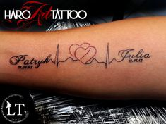 Tattoo by LT from Haro Art Tattoo in Kleve. Kids Names and Heartbeats tattoo. - Tattoo by LT from Haro Art Tattoo in Kleve. Kids Names and Heartbeats tattoo. Tattoos For Childrens Names, Mother Tattoos For Children, Name Tattoos For Moms, Baby Name Tattoos, Tattoos With Kids Names, Tattoo For Son, Kid Names, Small Tattoos, Tattoo Small