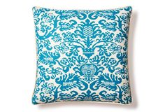 Kahlea 20x20 Cotton Pillow, Turquoise