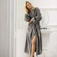 Buy Clothing > Nightwear & Robes > Unisex Graphite Cotton Classic Robe from The White Company