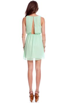 Seafoam green open back chiffon dress. Yes please and thank you.