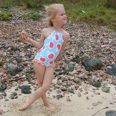 Li'l Ludy Girls Retro Apple 70's Tie Back Swimsuit #girls #kidswimwear #sglittlepockets