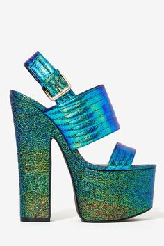 Privileged Paranoid Iridescent Platform Heels