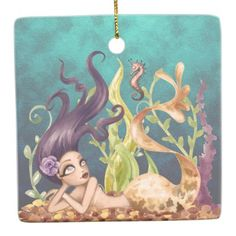 Personalized Mermaid and Seahorse Under the Sea Ceramic Ornament - ocean side nature waves freedom design Christmas Tree Ornaments, Christmas Holidays, Mermaid Home Decor, Mermaid Ornament, Mermaid Under The Sea, Holiday Greeting Cards, Ceramics, Freedom Design, Prints