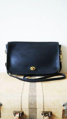 Vintage Coach Bag. Black Leather Cross Body Purse. 80s Coach Satchel. Convertible Clutch. on Etsy, $72.00