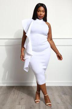 A midi length dress, scuba ruffle styling from shoulder to hem, mock neckline, and midi length. Blue Bridesmaid Dresses, Prom Dresses, Wedding Dresses, Tulle Dress, Sequin Dress, White Cocktail Dress, White Dress, Sheath Wedding Gown, Baby Shower Dresses