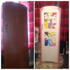 Upcycled wardrobe, hand painted disney princesses using chalk paint and acrylics