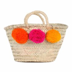 bohemia design, Mini market Pom Pom basket ORANGE / PINK / YELLOW - PRE-ORDER - Sunday in color