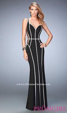 Long Black and White Sheer Sides Prom Dress by La Femme Style: LF-22419