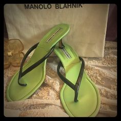 Manolo Blahnik Classic Rare Green Sandals. These green and black Manolo's are ready for any occasion. Can dress these up or down. Very good condition and comes with the dust bag. Made in Italy. Size 38. Smoke free. Manolo Blahnik Shoes Sandals