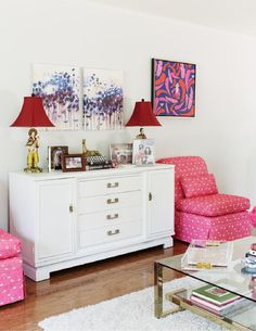 Matchbook Magazine - white credenza and pops of color