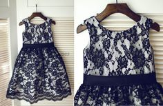Black Lace Flower Girl Dress Children Toddler Party Dress for Wedding Junior Bridesmaid Dress by knothouses on Etsy https://www.etsy.com/listing/216112435/black-lace-flower-girl-dress-children