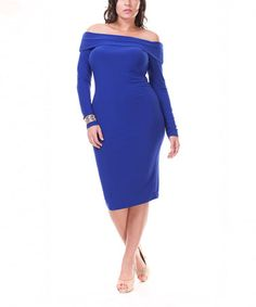 Another great find on #zulily! Royal Blue Off-Shoulder Dress - Plus #zulilyfinds