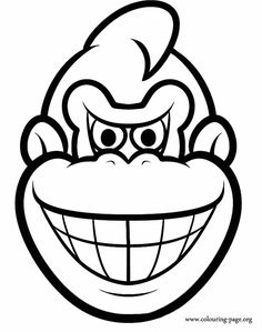 Have fun coloring this picture of the Donkey Kong's face. Then, you can use the colored picture as a mask!