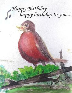 f23c257d055 Red Robin Print featuring the painting Red Robin Singing Happy Birthday by  Ruthann Hanson Singing Happy