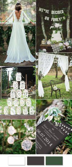 white lace woodland wedding ideas