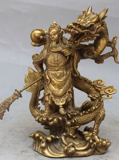88K621<<<>>Chinese Fengshui Bronze Guan Gong Yu Warrior God Sword Stand in Dragon Statue(China (Mainland))