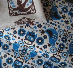 kokka blue owl and partridge on cream