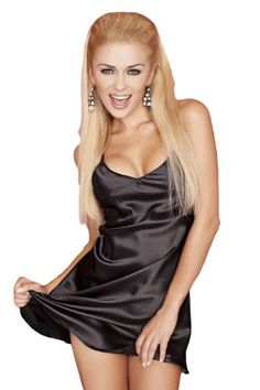 Dkaren Luxurious Satin Sexy Babydoll Chemise Nightgown Night Shirt Lingerie  S Black at Amazon Women s Clothing store  659d244de