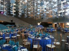 Dining Tables @ Ontario Science Centre. South Asian Wedding. Peacock Blue Dining Tables, A Table, Place Settings, Table Settings, South Asian Wedding, Peacock Blue, Got Married, Ontario, Centre