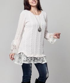 Love this Winter White Cable-Knit & Lace Bell-Sleeve Tunic - Plus by Reborn Collection on #zulily! #zulilyfinds
