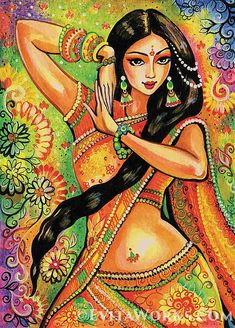 This item is based on an original painting, named Dancing Nithya. Magic of Dance Series. (Nithya is a female name in Hindi, meaning always, eternal.) Youre considering a hand-made-to-order collector-quality item. It consists of a Signed-Edition (SE) Art Print (giclée) from an original