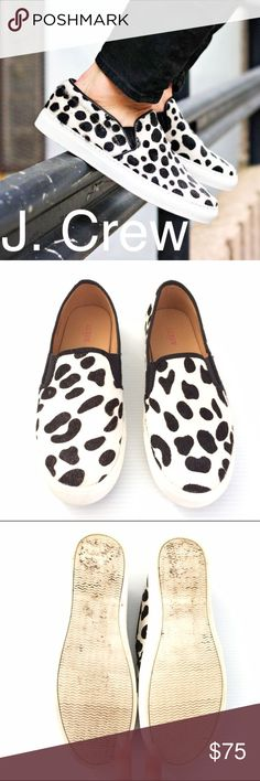Listing! J. Crew calf hair snow leopard sneakers J. Crew factory calf hair snow leopard print skater slip on sneakers. Quality leather shoes. Like new...very little wear. Rubber soles. A fun pop to any outfit. Not broken in so they fit a bit stiff. Sold out online. J. Crew Shoes Flats & Loafers