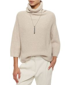 W058R Brunello Cucinelli Cashmere-Blend Sequined Slouchy Sweater