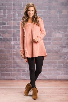 """Free To Love Tunic, Rose Quartz"" This tunic so easy to love! Which is why we knew you would want it back in this fab color! It's so thick and warm! Plus we are going gaga over those exposed shoulders! It's such a small detail but it makes such large impact! #Newarrivals #shopthemint"