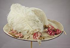 Cartwheel Ivory Velvet Hat with Plume, 1890's - turn of century.