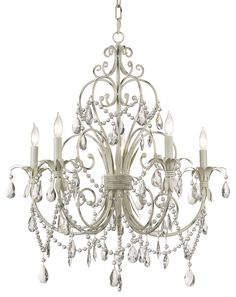 Winterset Collection Antique Cream Five Light  Chandelier | 55DowningStreet.com