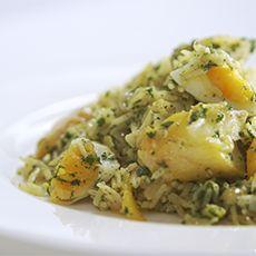 Kedgeree. {Serves 3. Use 400ml water with 160g brown basmati rice.}