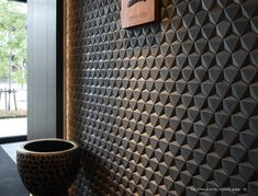 Our new Shadow Tile collection uses dramatic shadows to create striking feature walls . New Shadow, 3d Tiles, Statement Wall, 3d Wall, Tile Design, Geometric Shapes, Japanese, Interior Design, Feature Walls