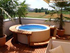 Wood Deck Whirlpool #roundjacuzzi