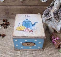 """Кухня ручной работы. Ярмарка Мастеров - ручная работа. Купить Чайная шкатулка""""Чайная церемония"""". Handmade. Голубой, для чая"""