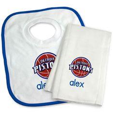 Detroit Pistons Newborn & Infant Personalized Bib & Burp Cloth Set - White