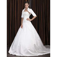 AFFORDABLE Wedding Gowns-  A-line Spaghetti Straps Chapel Train Satin Wedding Dress with A Wrap - USD $ 147.49