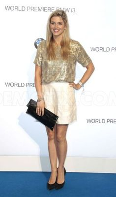 Ashley James from Made in Chelsea wears our Idyllic Hour Shorts to a BMW event!