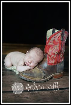 Newborn cowboy with boots. @Amber Brown I think this is you and AJ's little one :)