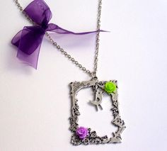 Antique silver plated frame neclace silver plated by HirasuGaleri, $18.00